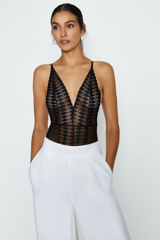 Black Strappy Lace Plunge Neck Cross Back Body