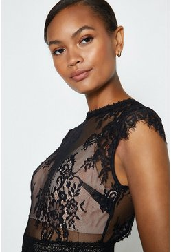 Black Short Sleeved Open Back Lace Body