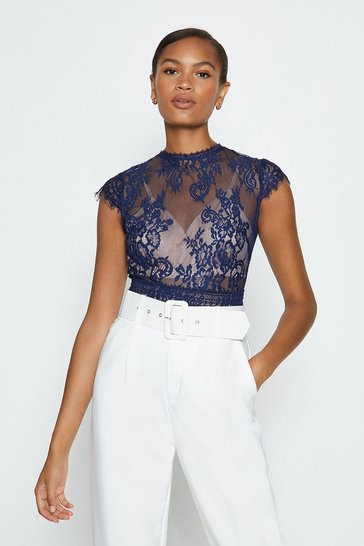 Navy Short Sleeved Open Back Lace Body