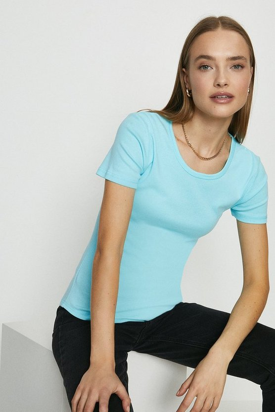 Aqua Crew Neck Short Sleeved T-Shirt