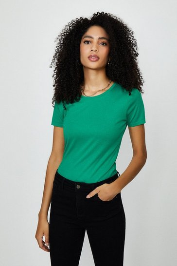 Green Crew Neck Short Sleeved T-Shirt
