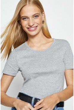 Grey Crew Neck Short Sleeved T-Shirt