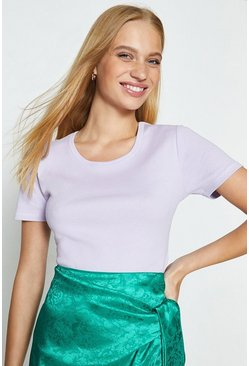 Lilac Crew Neck Short Sleeved T-Shirt