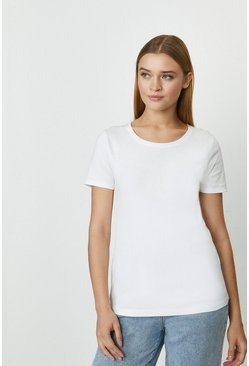 White Crew Neck Short Sleeved T-Shirt