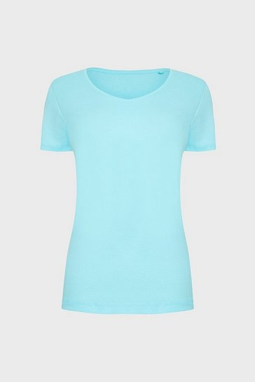 Aqua V-Neck Short Sleeved T-Shirt