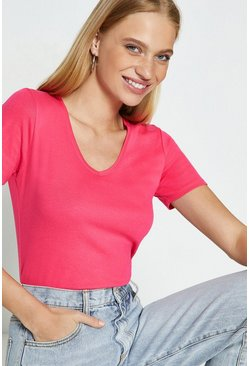Fuchsia V-Neck Short Sleeved T-Shirt