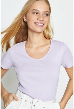 Lilac V-Neck Short Sleeved T-Shirt
