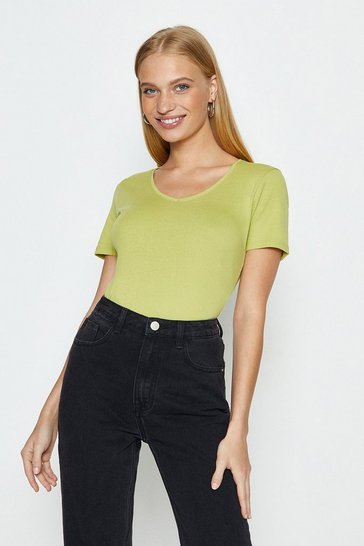 Lime V-Neck Short Sleeved T-Shirt