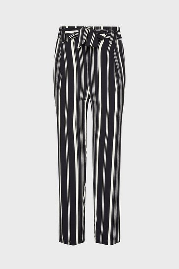 Mono Striped Cropped Tie Waisted Trouser