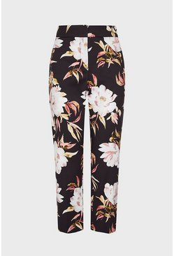 Floral Printed Cotton Sateen Trousers