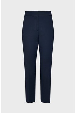 Navy Cotton Sateen Cropped Trousers