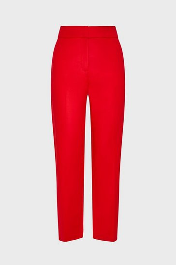 Red Cotton Sateen Cropped Trousers