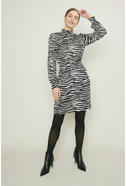 Mono High Neck Zebra Printed Dress