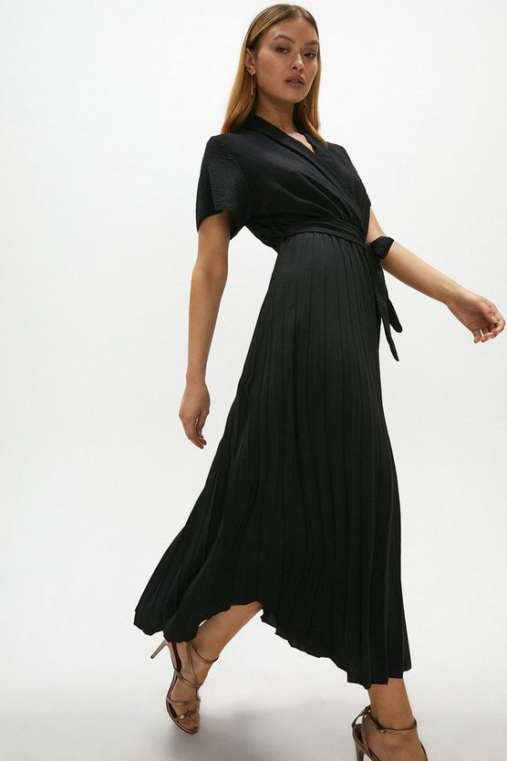 Black Wrap Front Pleated Skirt Dress