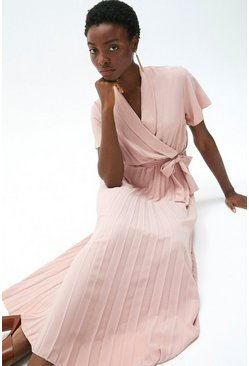 Blush Wrap Front Pleated Skirt Dress