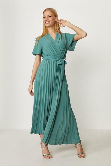 Green Wrap Front Pleated Skirt Dress