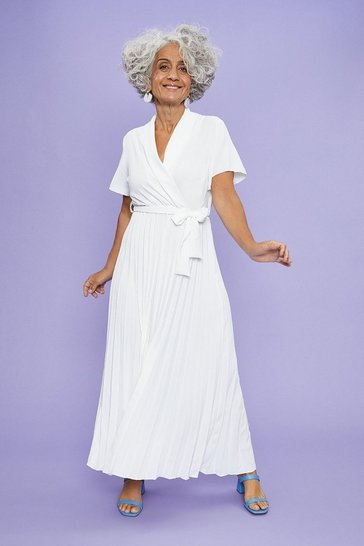 Ivory Wrap Front Pleated Skirt Dress