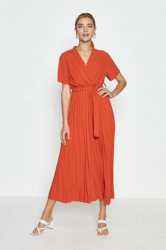 Orange Wrap Front Pleated Skirt Dress