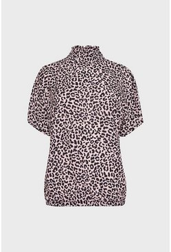 Multi Shirred Neck Animal Print Top