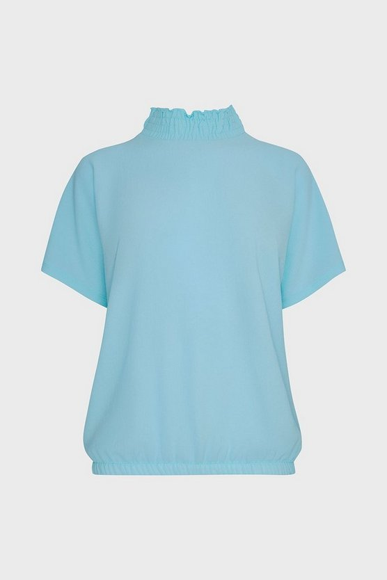 Blue Shirred Neck Top