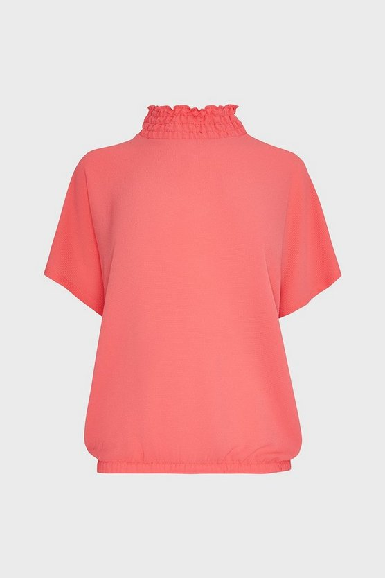 Coral Shirred Neck Top