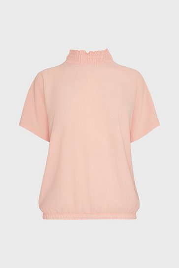 Pink Shirred Neck Top