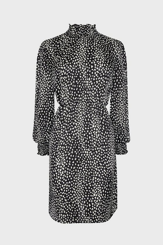 Black Shirred Neck Animal Printed Midi Dress