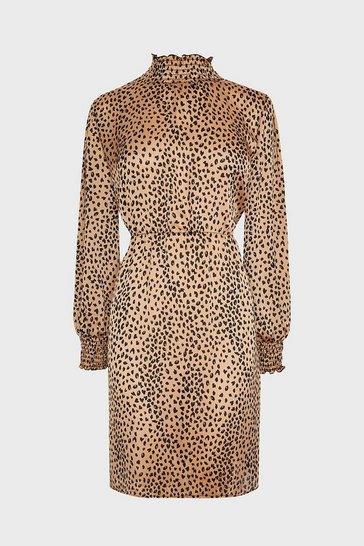 Nude Shirred Neck Animal Printed Midi Dress