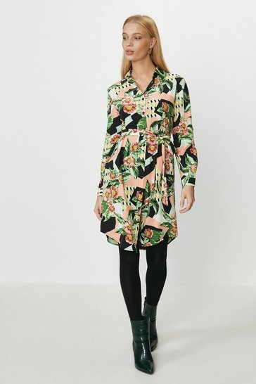 Multi Printed Shirt Dress