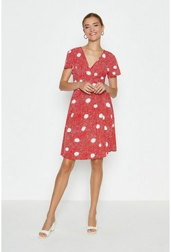 Red Cap Sleeve Spotty Wrap Dress
