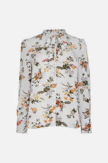 Multi Tie Neck Printed Blouse
