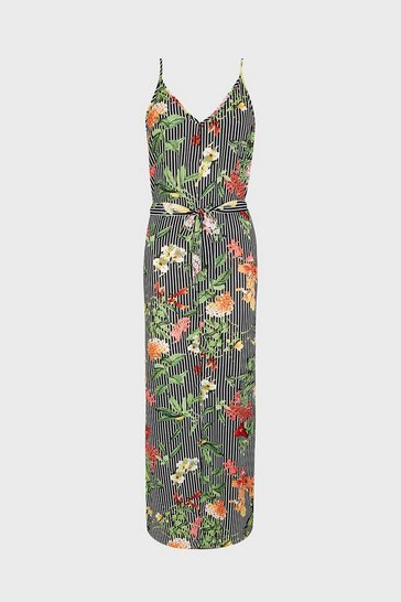 Multi Stripe & Floral Strappy Tie Waist Maxi Dress