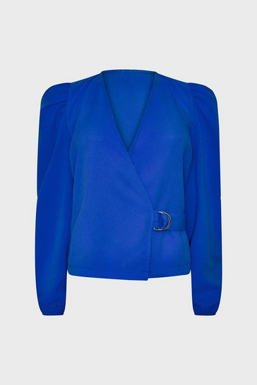 Cobalt Long Sleeve Wrap Top