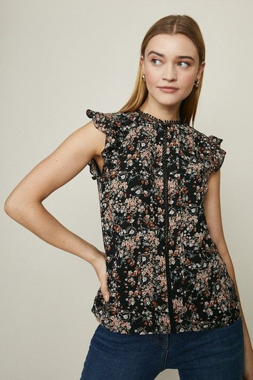 Black Cap Sleeve Floral Printed Top