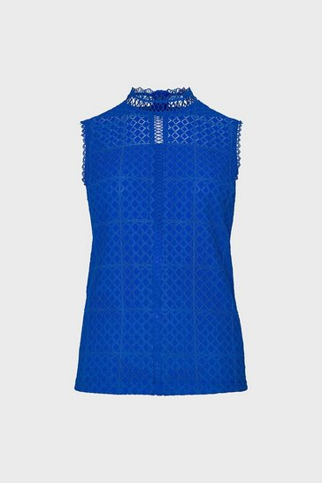 Cobalt Sleeveless High Neck  Lace Blouse