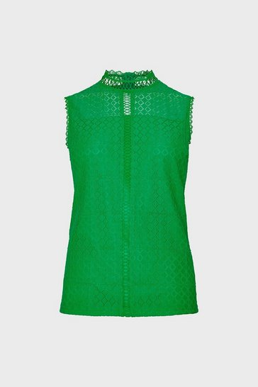 Green Sleeveless High Neck  Lace Blouse