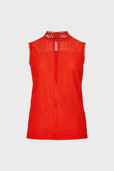 Red Sleeveless High Neck  Lace Blouse