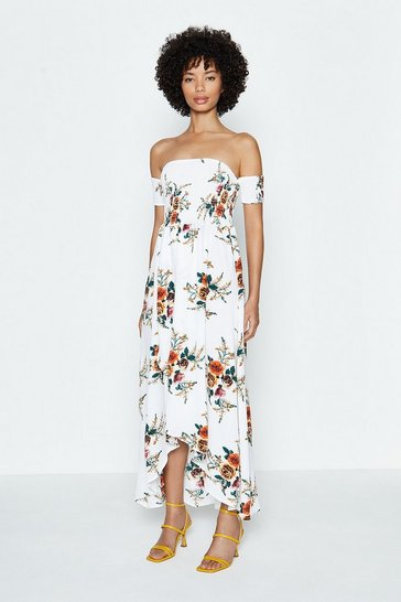 Ivory Floral Shirred Bodice Bardot Dress