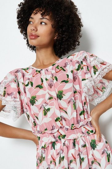 Pink Leaf Print Lace Hem Midi Dress