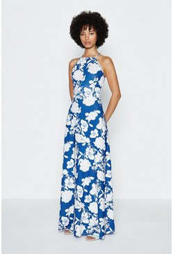 Blue Halter Printed Maxi Dress