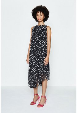 Black Spotty Belted Midi Dress