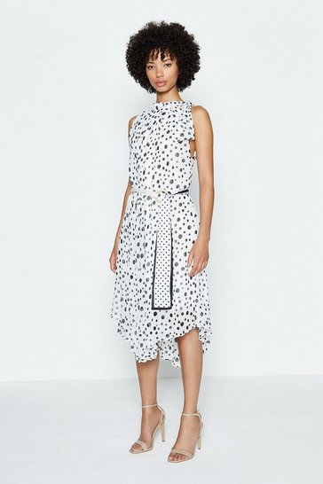 Ivory Spotty Belted Midi Dress