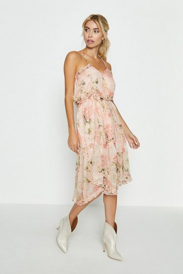 Blush Printed Tiered Midi Dress