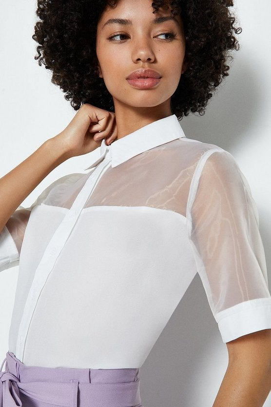 Ivory Organza Collar Short Sleeve Blouse