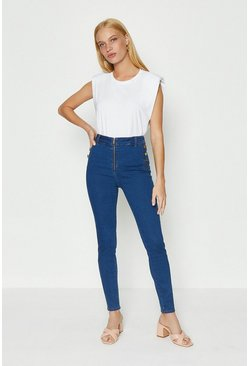 Blue Zip Front Button Detail Jean