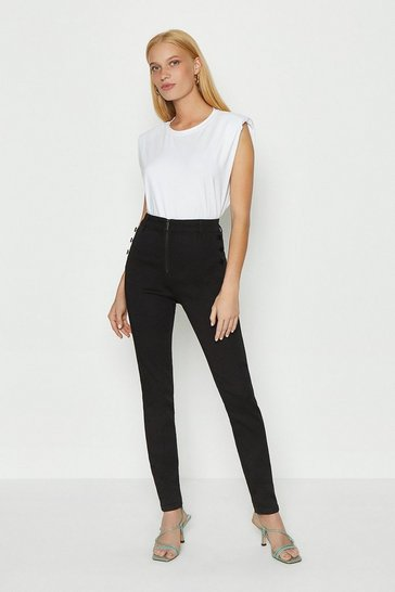 Black Zip Front Detail Button Jean