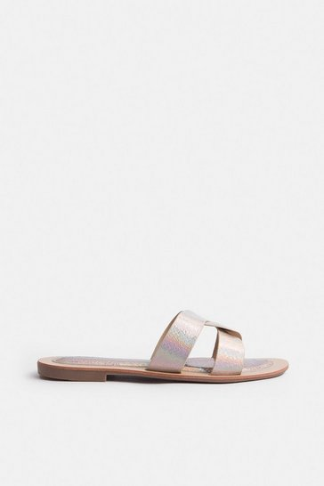 Gold Holographic Twist Flat Sandal