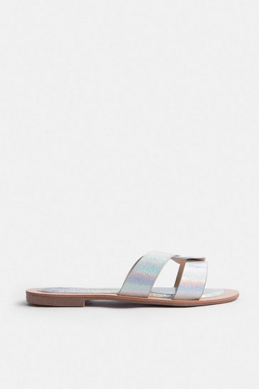 Silver Holographic Twist Flat Sandal