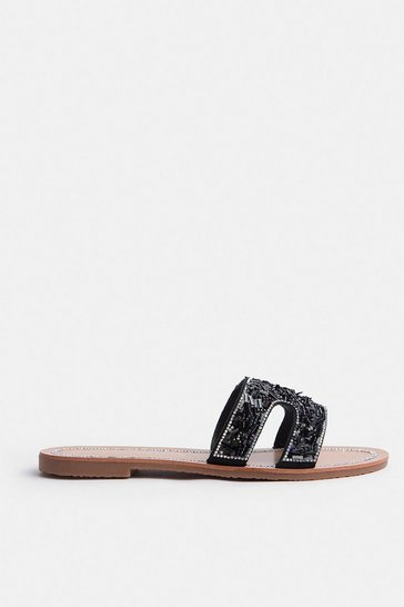 Black Metallic Flat H Sandal