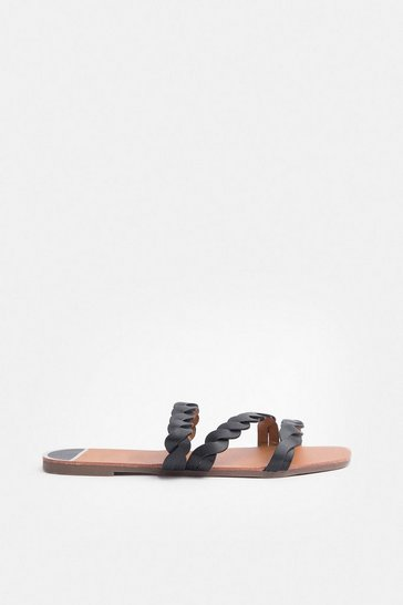 Black Corded Flat Sandal